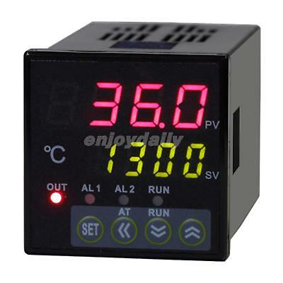 48x48 DIN Dual 4-Digit Digital PID Temperature Controller +Thermocouple + SSR