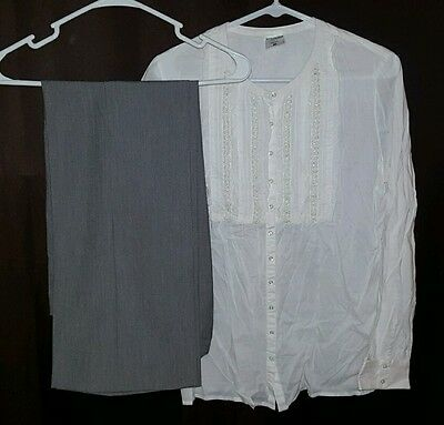 Maternity Outfit Size Medium White Blouse & Gray Dress Pants High Panel