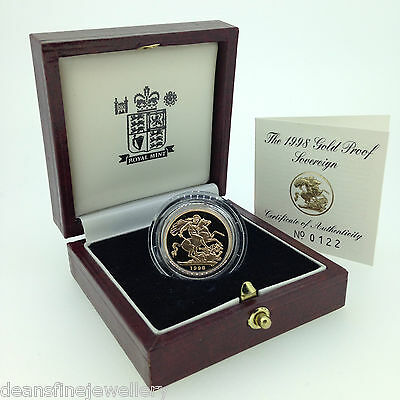 1998 Gold Proof Sovereign Queen Elizabeth II with Box & COA