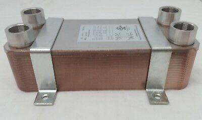 """NEW! 30 Plate Water to Water Brazed Plate Heat Exchanger 1"""" FPT Ports W/Brackets"""