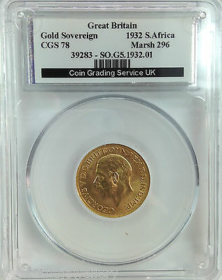 1932  Gold FULL Sovereign George V SA  UNCIRCULATED   Slabbed CGS78  PCGS-MS64