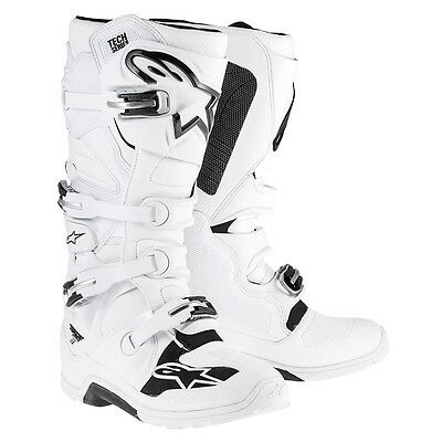 AlpineStars Boots Tech 7 White Riding Motocross Racing Motorcycle Men