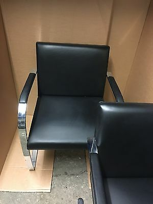 2 Black Leather-Mies Van Der Rohe-Brno Knoll Studio Chairs