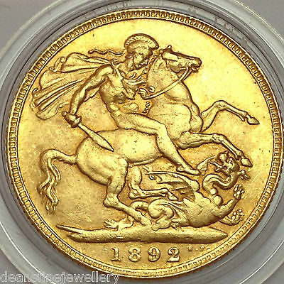 1892  Victoria JUBILEE HEAD Gold FULL Sovereign  LONDON  Mint