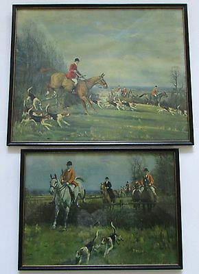 VTG John Sanderson Wells Equestrian Fox Hunt Prints Set of 2