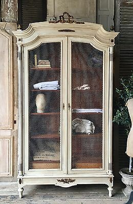 Original vintage French Louis XV1 linen press / armoire with chicken wire doors