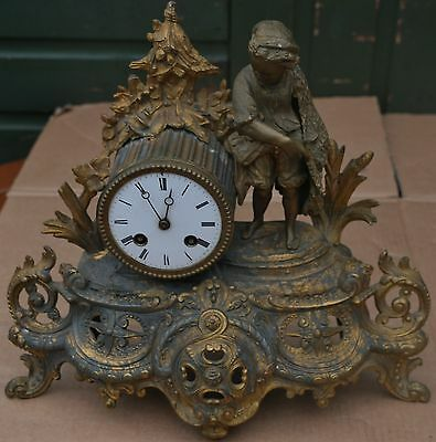 Old Dirty Fancy Looking Gilt Metal Vincenti Mantel Clock To Restore