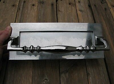 Large Reclaimed Chrome Letter Box Plate / Mail Slot with Door Pull