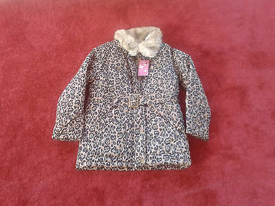 Girls Brown Leopard Print Quilted Belted Water proof jackets  7-8 & 12-13 years