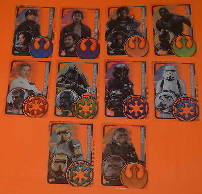 10 Plastic cards (#193-#202) from Topps Star Wars Rogue One Trading Card Set