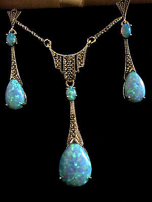 Sterling Silver Blue Gilson Opal Marcasite Art Deco Necklace & Earrings Set New