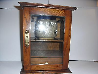 Vintage Wooden Smoking Cabinet With Internal Pipe Rack, Drawer And Tobacco Jar