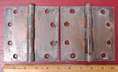 "2 Antique Iron House Barn - Garage  5"" X 5"" Door Hinges With Brass Pins #02"