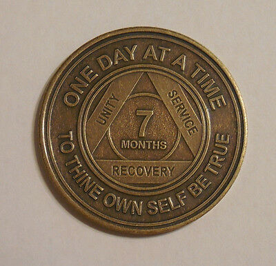 aa bronze alcoholics anonymous 7 months recovery sobriety coin token medallion