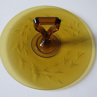 Old Vintage Amber Etched Glass Center Handle Tidbit Snack Sandwich Tray