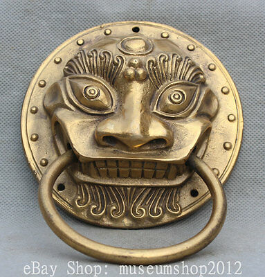 Chinese Fengshui Brass Lion Foo Dog Beast Head Statue Round Door Knocker