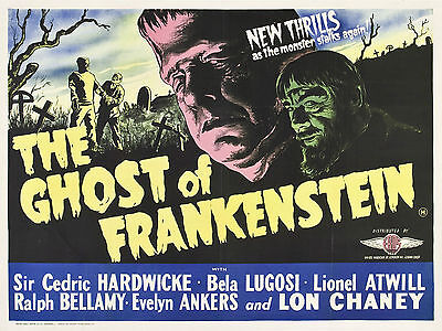 """Gkost of Frankenstein 1942 16"""" x 12"""" Reproduction Movie Poster Photograph"""