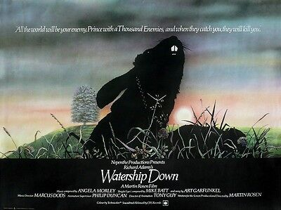 """Watership Down 1978 16"""" x 12"""" Reproduction Movie Poster Photograph"""