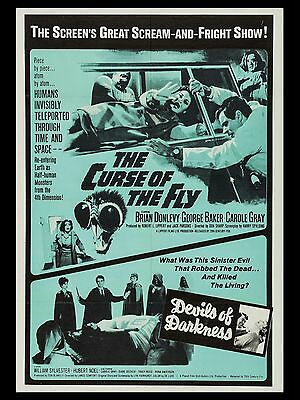 """Curse of the Fly / Devils of Darkness 16"""" x 12"""" Repro Movie Poster Photo"""