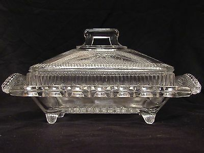 Vintage Lattice Edge Leaves Clear Pressed Glass Covered Footed Butter Dish