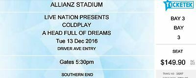 Coldplay | Sydney | Gold Seated Tickets | Tue 13 Dec 2016 X 2 Tickets