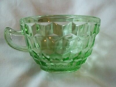 Jeannette Glass Co. Depression  Cubist  Cube Green  Cup
