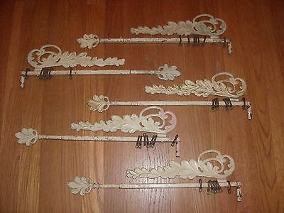 Set Of 5 VINTAGE Art DECO Ornate Metal Adjustable SWING Out CURTAIN RODS