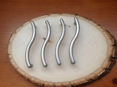 """176 VTG MidCentury Handles Pewter Tone About 3-1/4"""" Hole To Hole 4 Pc"""