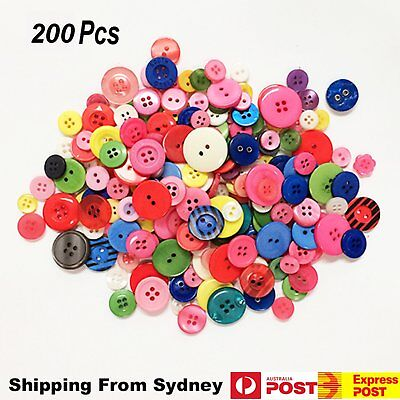 New 350Pcs Multicolor Buttons Sewing Plastic Shapes Holes Kid DIY Crafts 9-20mm
