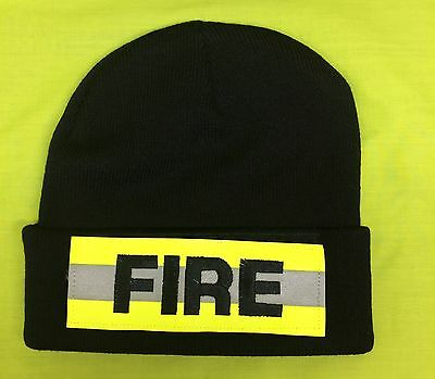 NEW FIRE Black Knit Stocking Cap With Hi Vis Reflective Velcro Patch Safety Hat