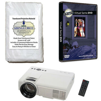 Virtual Santa in the Window USB Projector Kit w/ High Res Rear Projection Screen