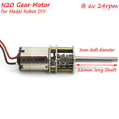 Mini N20 Speed Reduction Gear Motor with Full Metal Gearbox DC6V 24RPM for Robot