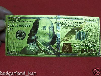 U.s. $ 100 Dollar Bill Gold Novelty Note - Great Quality