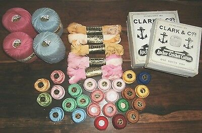 Large Lot 57 balls skeins Vintage Crochet Cotton DMC Anchor Lily Daisy Skytone