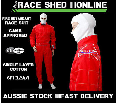 Race Suit Single Layer Cotton SFI 3.2a/1 CAMS/ASAA/NASR Approved RED/BLUE/BLACK