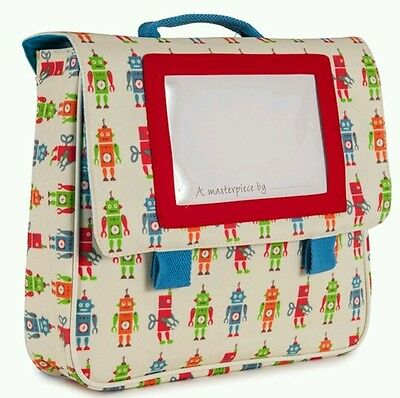 Pink Lining Child Picture Satchel Robbie Robot Back to School First School Bag