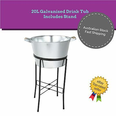 20L Galvanised Ice Bucket Drinks Tub Champagne Wine Beer Cooler on Stand Party