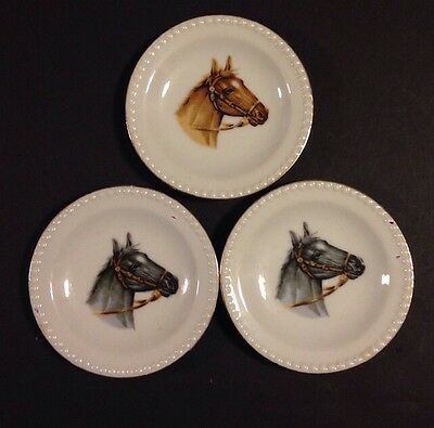 Mini Horse Plates Wirh Gold Button Rimmed Edges