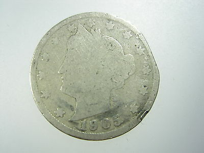 USA Mint Error Clipped 1905 V Liberty Nickel 5 Cent America Coin ✪
