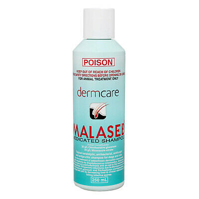 Dermcare Malaseb Medicated Shampoo 250ml Dog Dermatitis Allergies Fleas Mites
