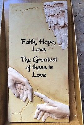 Faith Hope and Love Inspirational Plaque by Arts in Stone - Gift boxed