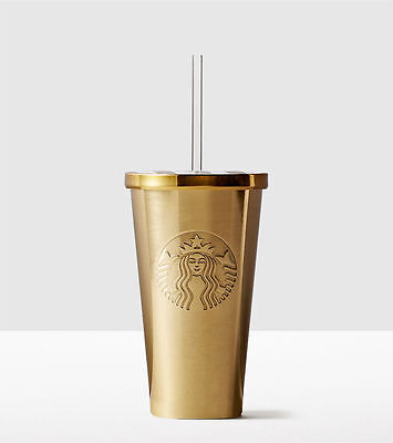 2016 NEW!!!! Starbucks Stainless Steel Cold Cup - Gold GRANDE 16 OZ.