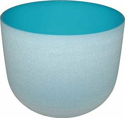 LIGHT BLUE CRYSTAL SINGING BOWL  w/ Sounding Mallet, Rubber Ring - 8 Inches