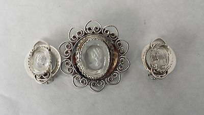 Reverse Carved Clear CAMEO Brooch Pin with Clip On Earrings and Heart Detail