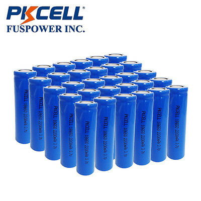 30x Lithium Rechargeable Battery 3.7V 18650 Unprotected Flat Top for Vape MOD CA