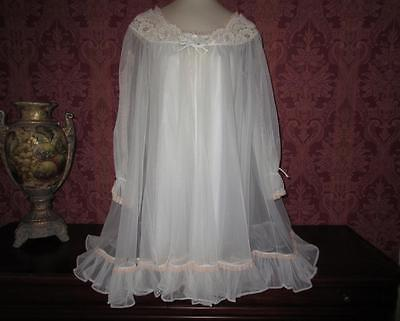 Vtg Double Nylon Chiffon Honeymoon Babydoll Nightgown Gown Negligee Lingerie S