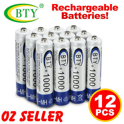 12x 1.2V 1000mAH AAA Rechargeable Battery Batteries NI-MH Recharge