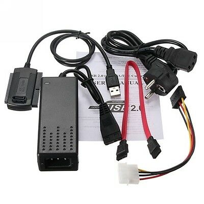EU Standard Hard Drive Power Supply Adapter USB 2.0 to SATA/IDE Cable Converter