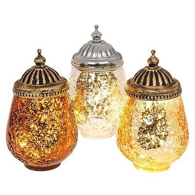 Moroccan Glass LED Battery Lanterns Choose From 3 Stunning Colours