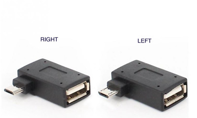 90 Degree Left & Right Angle Micro USB 2.0 OTG Host Adapter Convertor For Phone